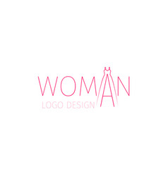 Woman logo with word and dress vector