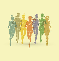 Women running marathon runners vector