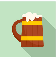wood mug of beer icon flat style vector image