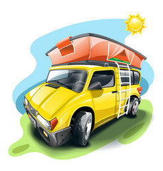 yellow van with tent on roof vector image