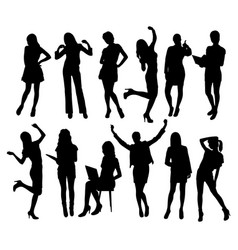 business woman activity silhouettes vector image vector image