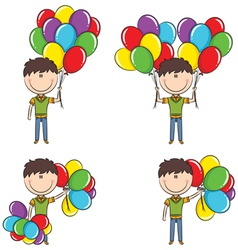 Cute boy with color balloons vector image vector image
