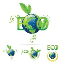 eco earth symbols vector image vector image