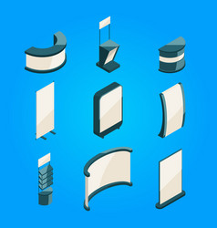 Empty stands for exhibition isometric objects vector