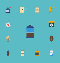 Flat icons beverage coffeemaker paper box and vector