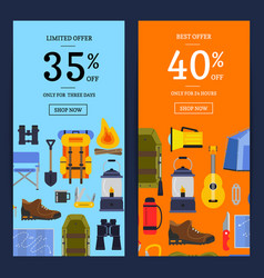 flat style camping elements sale banners vector image