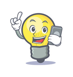 light bulb character cartoon with phone vector image