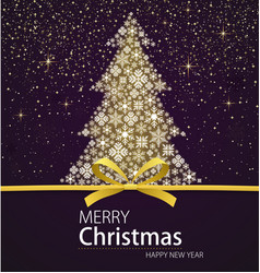 merry christmas and happy new year xmas tree vector image