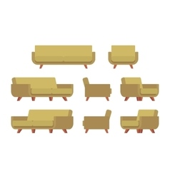 Set of retro sofa and armchair vector image