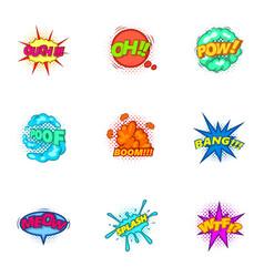 trendy speech bubbles icons set cartoon style vector image