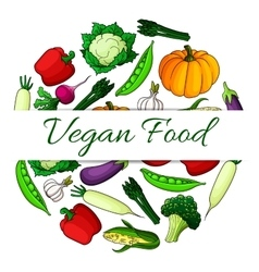 Vegan food emblem with round shape of vegetables vector image vector image