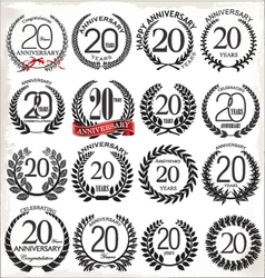 20 years anniversary laurel wreaths vector image