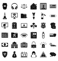 internet crime icons set simple style vector image