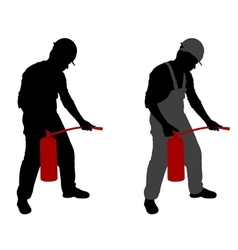 man with fire extinguisher vector image vector image