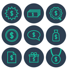 set of icons about money with cifrao dollar vector image vector image
