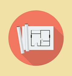 Architectural blueprint flat icon vector image vector image