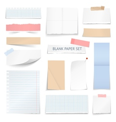 Blank Paper Sheets Strips Realistic Collection vector image vector image