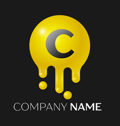 c letter splash logo yellow dots and bubbles vector image vector image