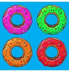 Donut with sprinkles set vector