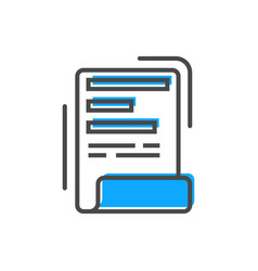 Process management icon with document sign vector