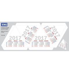 Template english calendar 2017 pyramid shaped vector