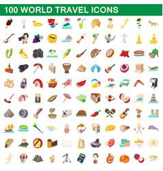 100 world travel icons set cartoon style vector image vector image
