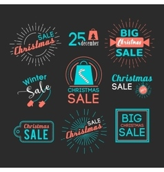 Christmas sales stickers set with flat icons vector image vector image