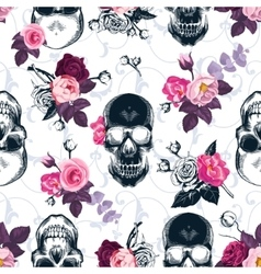 Floral seamless pattern with monochrome human vector image vector image