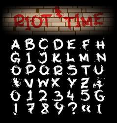 grunge brush hand drawn alphabet vector image