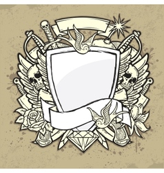Grunge Label with Shield vector image vector image