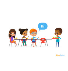 multiracial kids sitting at table in school vector image