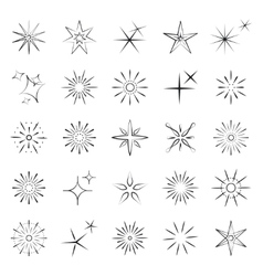 Sparkles starbursts and fireworks icons vector