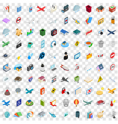 100 symbol icons set isometric 3d style vector