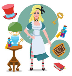 alice beside the table with magical objects and vector image
