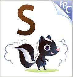 Animal alphabet for kids s for skunk vector