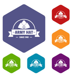 Army hat icons hexahedron vector