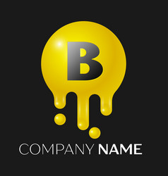 b letter splash logo yellow dots and bubbles vector image