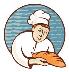 Baker chef cook holding loaf of bread vector