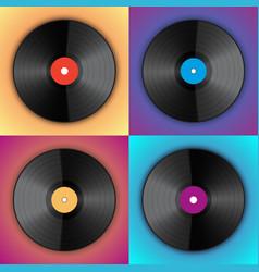 Banner of vinyl player records in pop art style vector