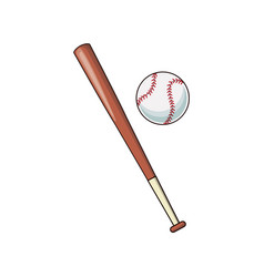 baseball bat and ball sport play image vector image