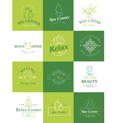 beauty healthcare spa badge logo set nature skin vector image