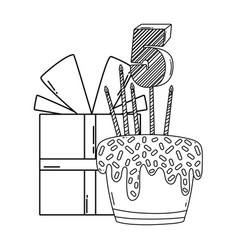 Birthday gift box and cake with number in black vector