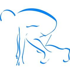 blue silhouette runner vector image