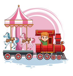 boy in train with carrousel vector image