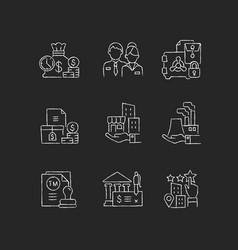 Business development chalk white icons set vector