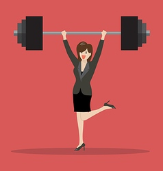 Business woman lifting a heavy weight vector