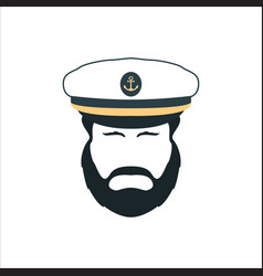 Captain face silhouetteskipper in a hat emblem vector