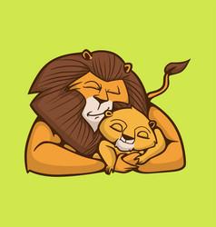 Cartoon animal design a sleeping lion hugging vector