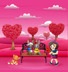 cartoon girls carry flowers for rabbit couple vector image