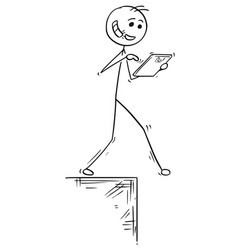 cartoon of walking man with handsfree and tablet vector image